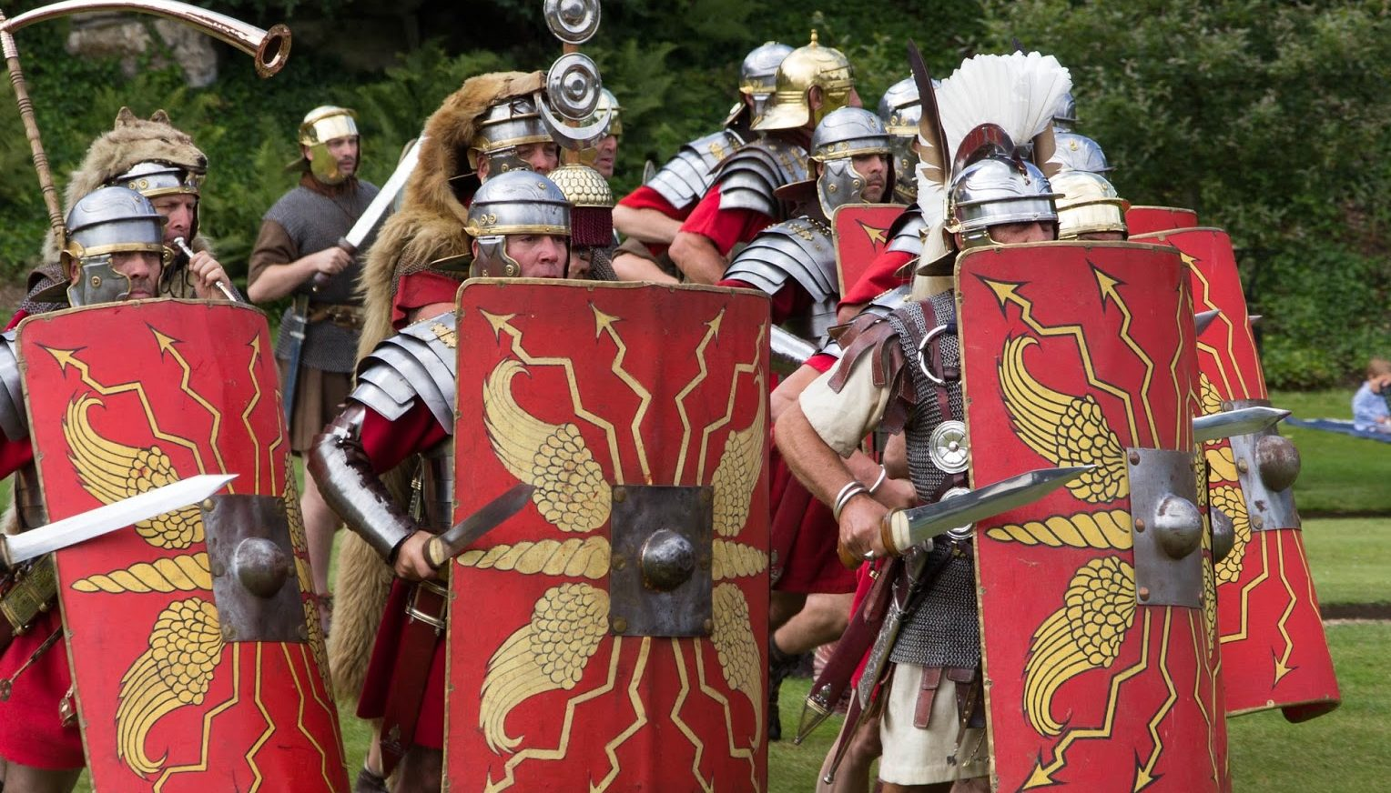Roman soldiers use shields and swords