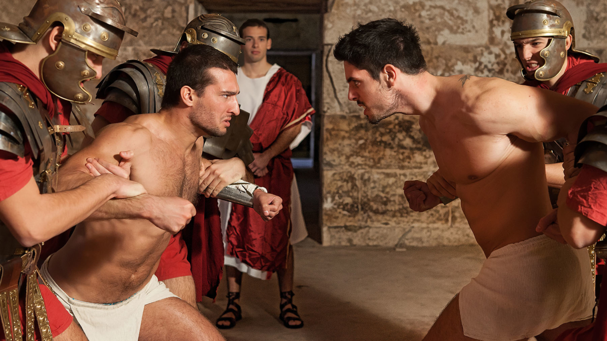 Roman gladiators in a stare battle