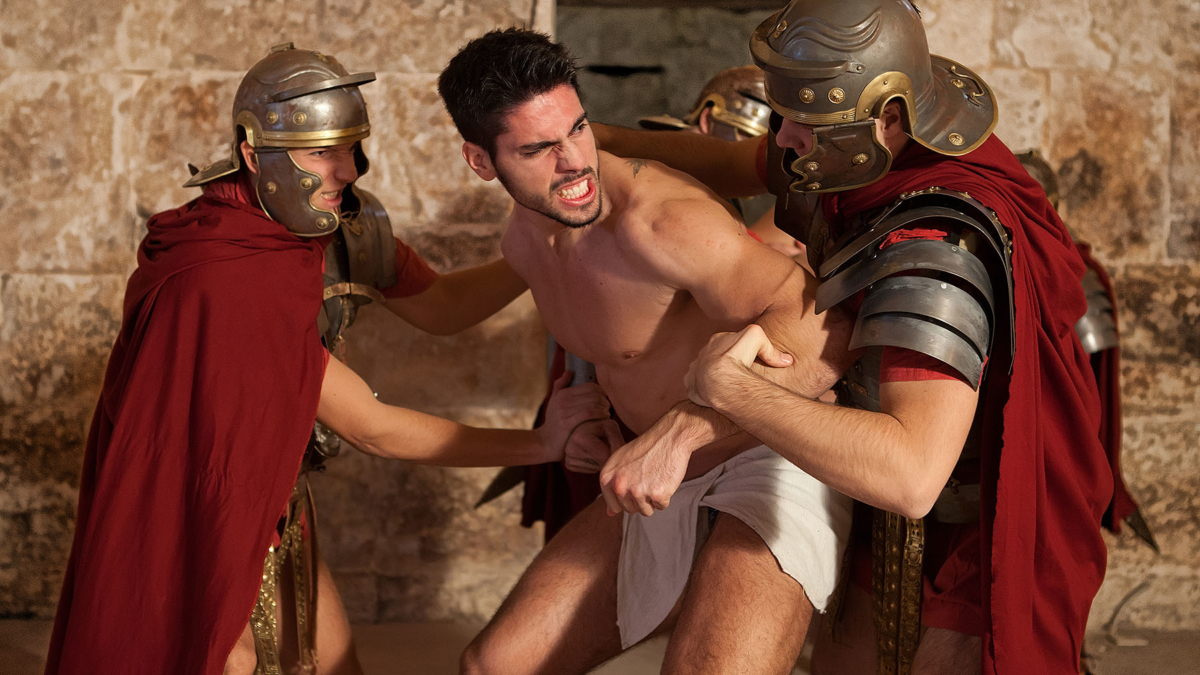 Roman gladiator resisting to obey